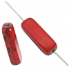 Fire Polished 15x5mm Rectangle Strung Red/Marble Sides